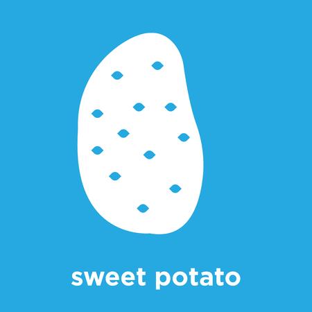 sweet potato icon isolated on blue background, vector illustration