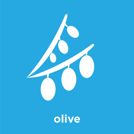 Olive icon isolated on blue background, vector illustration. Illustration