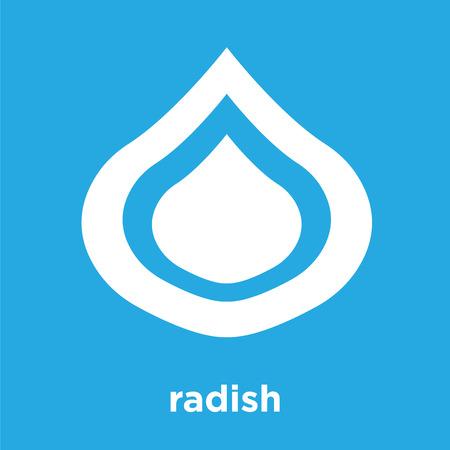 radish icon isolated on blue background, vector illustration Illustration