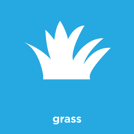 Grass icon isolated on blue background, vector illustration