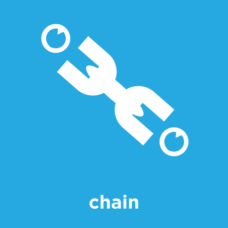 Chain icon isolated on blue background, vector illustration