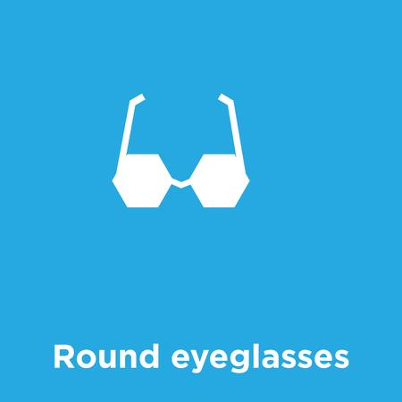 Round eyeglasses icon isolated on blue background, vector illustration