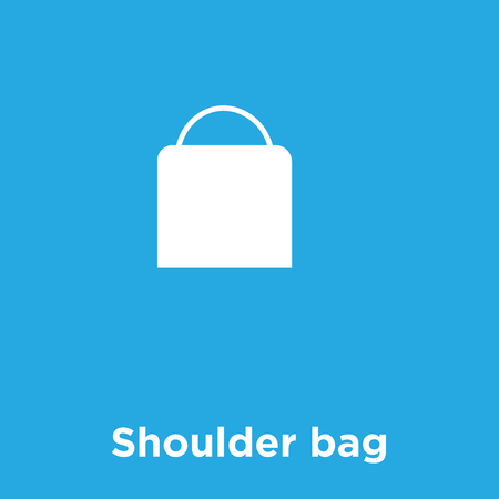 Shoulder bag icon isolated on blue background, vector illustration. Vettoriali