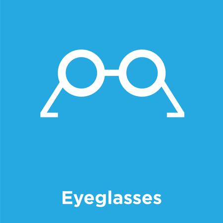 Eyeglasses icon isolated on blue background, vector illustration.
