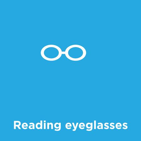 Reading eyeglasses icon isolated on blue background, vector illustration Illusztráció
