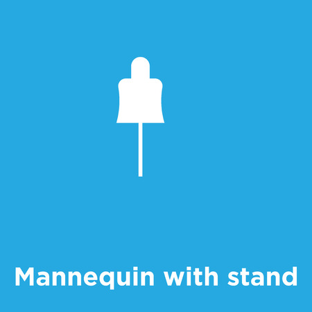 Mannequin with stand icon isolated on blue background, vector illustration