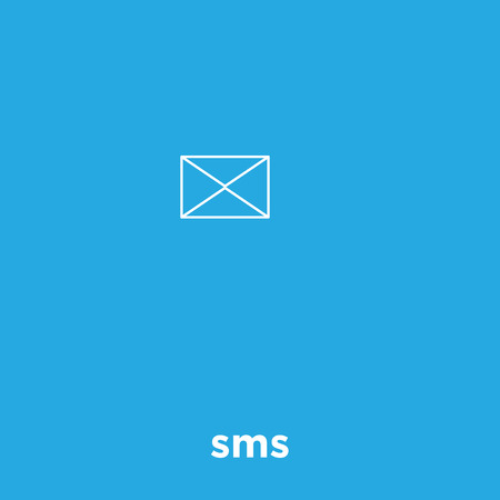 Message icon isolated on blue background, vector illustration Vectores