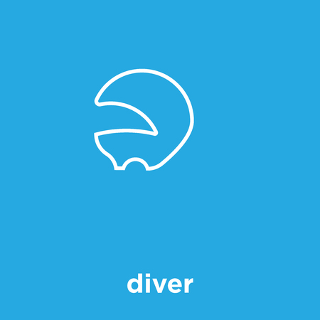 Diver icon isolated on a blue background Ilustração
