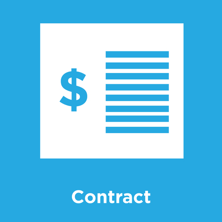 Contract icon isolated on blue background, vector illustration