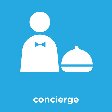 concierge icon isolated on blue background, vector illustration