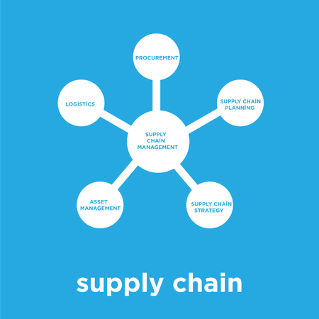 supply chain icon isolated on blue background, vector illustration Vectores
