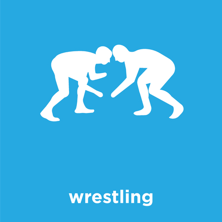 wrestling icon isolated on blue background, vector illustration