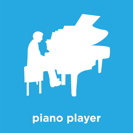 piano player icon isolated on blue background, vector illustration