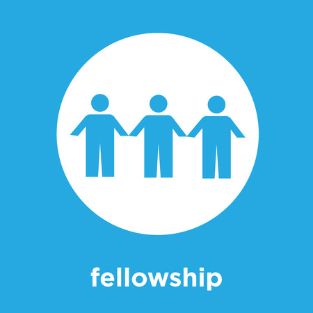 fellowship icon isolated on blue background, vector illustration