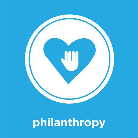 philanthropy icon isolated on blue background, vector illustration