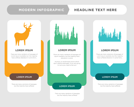 black tree business infographic template, the concept is option step with full color icon can be used for black tree diagram infograph chart business presentation or web, black whitetail buck vector