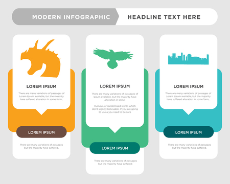 black new orleans business infographic template, the concept is option step with full color icon can be used for raven diagram infograph chart business presentation or web, black griffin vector Иллюстрация