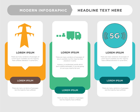 5g business infographic template, the concept is option step with full color icon can be used for commodities diagram infograph chart business presentation or web, pylon vector design element