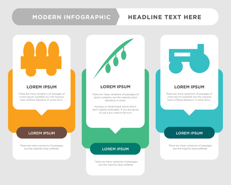 prime mover business infographic template, the concept is option step with full color icon can be used for olive diagram infograph chart business presentation or web, fence vector design element Stock Illustratie