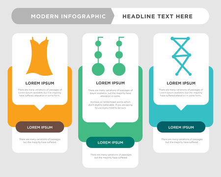 Clothing stitches business infographic template, the concept is option step with full color icon can be used for Dangling earrings diagram infograph chart business presentation or web, Vintage dress