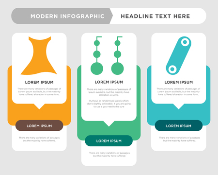 Curling hair business infographic template, the concept is option step with full color icon can be used for Dangling earrings diagram infograph chart business presentation or web, Female dress vector Illustration