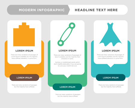 Strapless dress with belt and petticoat business infographic template, the concept is option step with full color icon can be used for Pin variant diagram infograph chart business presentation or Illustration