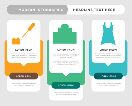 Female dress business infographic template, the concept is option step with full color icon can be used for Personal care bottle diagram infograph chart business presentation or web, Lacquer for Ilustracja