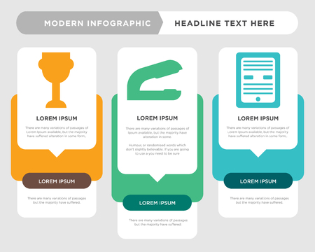 Ebook business infographic template, the concept is option step with full color icon can be used for Stapler diagram infograph chart business presentation or web, Trophy vector design element Vectores