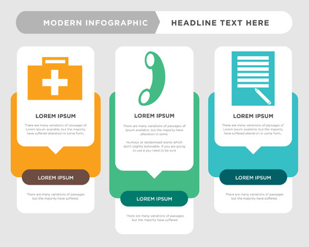 todo list business infographic template, the concept is option step with full color icon can be used for call diagram infograph chart business presentation or web, medical vector design element Illustration