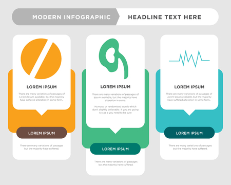 pulse business infographic template, the concept is option step with full color icon can be used for kidney diagram infograph chart business presentation or web, medical vector design element Illustration