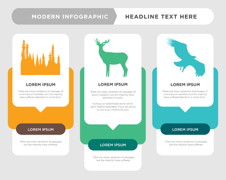 vulture business infographic template, the concept is option step with full color icon can be used for black bull elk diagram infograph chart business presentation or web, black tree vector design