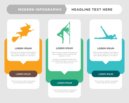 lying down business infographic template, the concept is option step with full color icon can be used for pole dancer diagram infograph chart business presentation or web, witch vector design element
