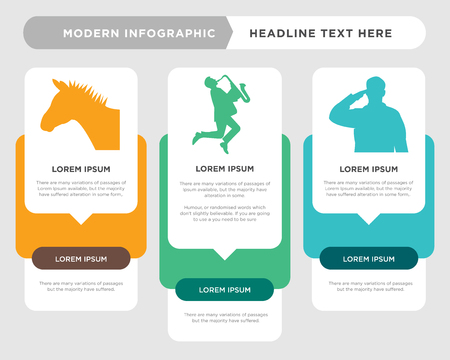 saluting soldier business infographic template, the concept is option step with full color icon can be used for saxophone player diagram infograph chart business presentation or web, zebra head Stock Illustratie