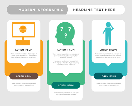 scratching head business infographic template, the concept is option step with full color icon can be used for curiosity diagram infograph chart business presentation or web, intranet vector design