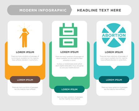 abortion business infographic template, the concept is option step with full color icon can be used for gas meter diagram infograph chart business presentation or web, panic vector design element