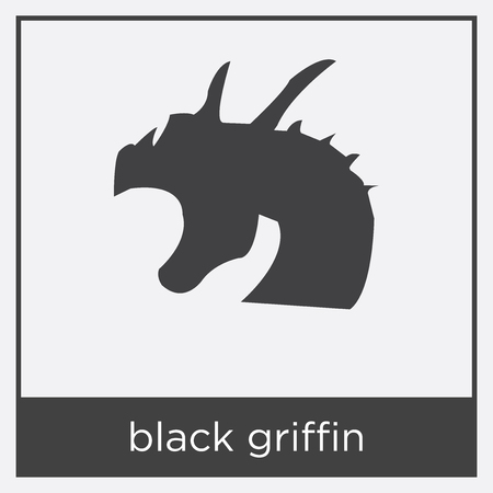 black griffin icon isolated on white background with black border Stock Illustratie