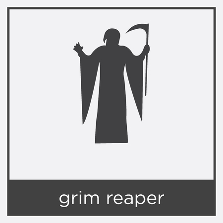 grim reaper icon isolated on white background with black border stock vector 100315743