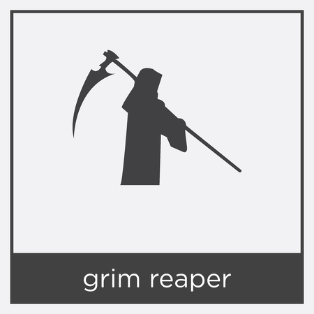 grim reaper icon isolated on white background with black border