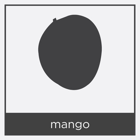 mango icon isolated on white background with black border