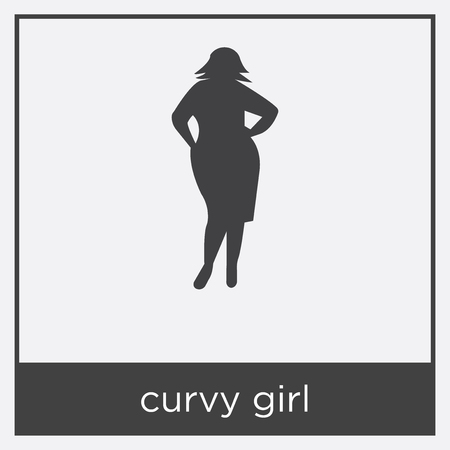 curvy girl icon isolated on white background with black border