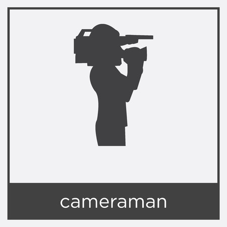 cameraman icon isolated on white background with black border