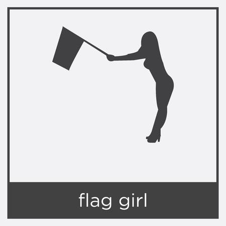 flag girl icon isolated on white background with black border