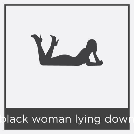 Black woman lying down icon isolated on white background with black border