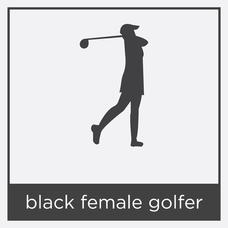 Black female golfer icon isolated on white background with black border Illusztráció
