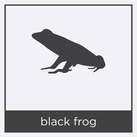 Black frog icon isolated on white background with black border