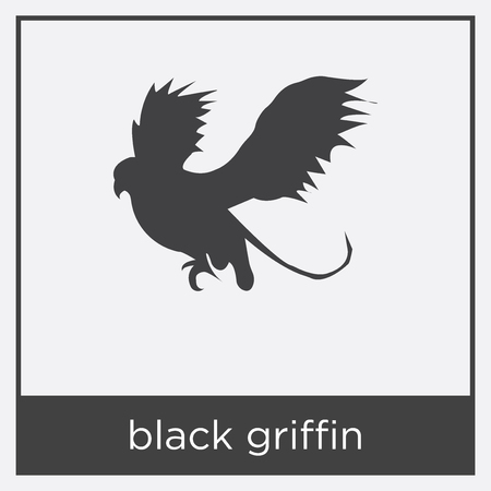 Black griffin icon isolated on white background with black border Иллюстрация