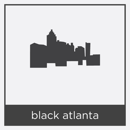 Black atlanta icon isolated on white background with black border