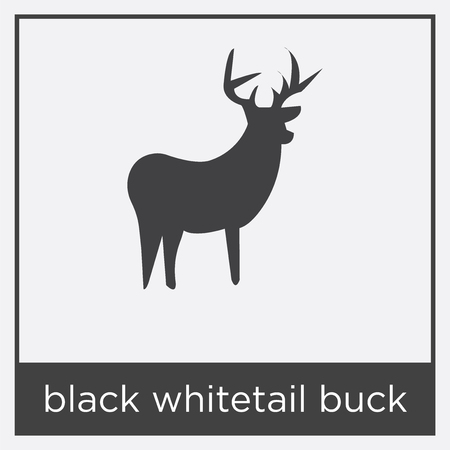 Black whitetail buck icon isolated on white background with black border Illustration