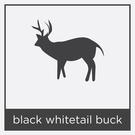 Black whitetail buck icon isolated on white background with black border Illustration