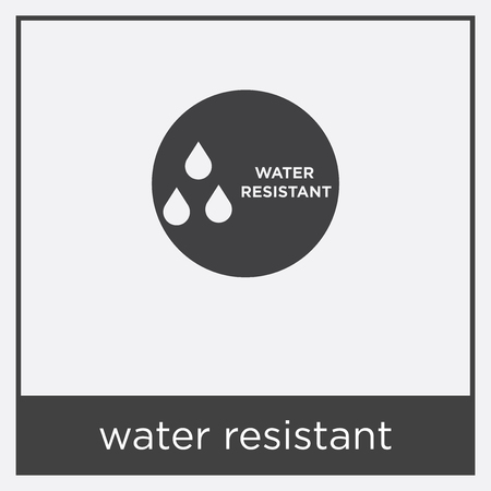 Water resistant icon isolated on white background with black border Vectores